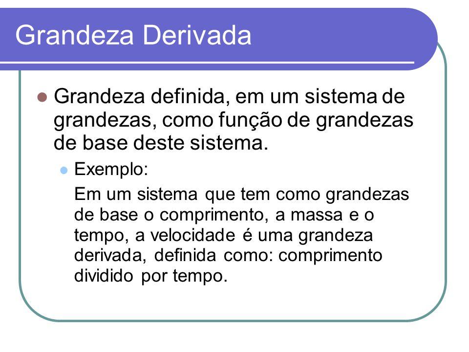 Grandeza Derivada Grandeza definida, em um sistema de grandezas, como função de grandezas de base deste sistema.