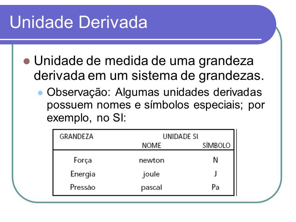 Unidade Derivada Unidade de medida de uma grandeza derivada em um sistema de grandezas.