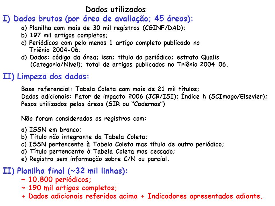 I) Dados brutos (por área de avaliação; 45 áreas):