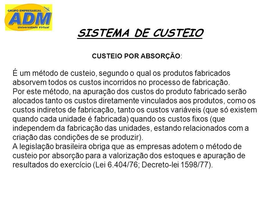 SISTEMA DE CUSTEIO CUSTEIO POR ABSORÇÃO: