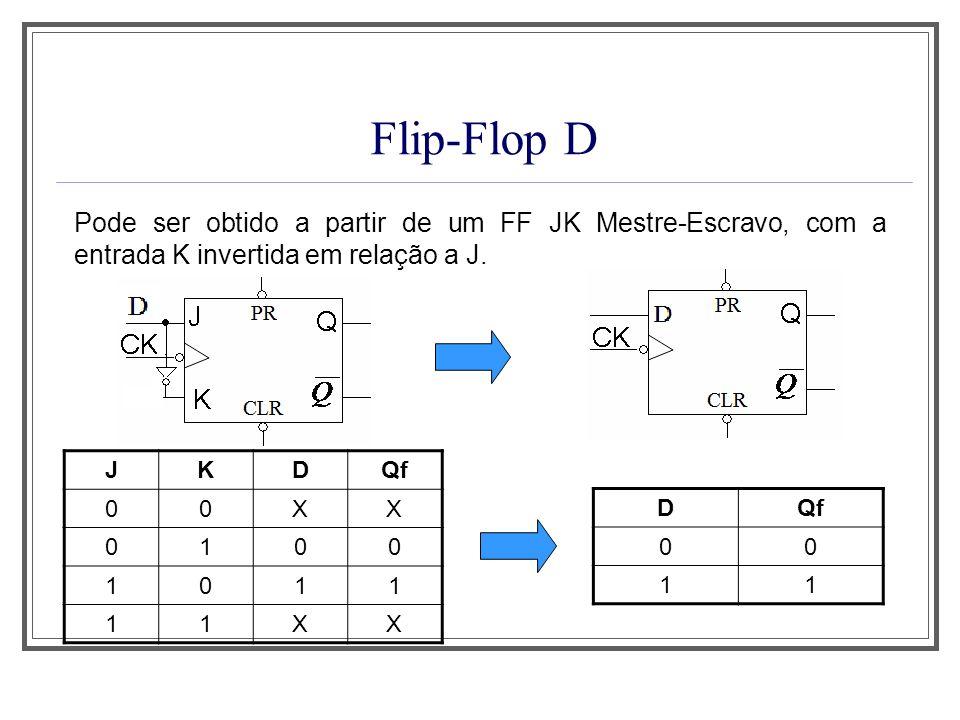 Aula 1 Flip-Flop D. Pode ser obtido a partir de um FF JK Mestre-Escravo, com a entrada K invertida em relação a J.