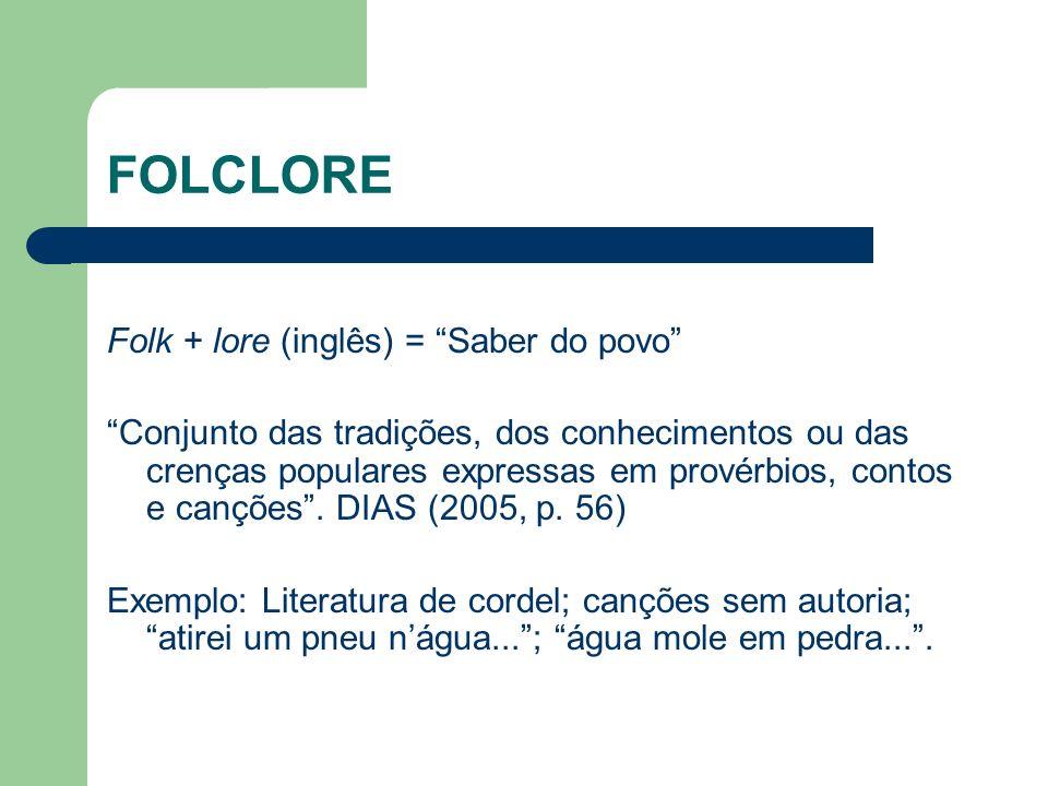 FOLCLORE Folk + lore (inglês) = Saber do povo