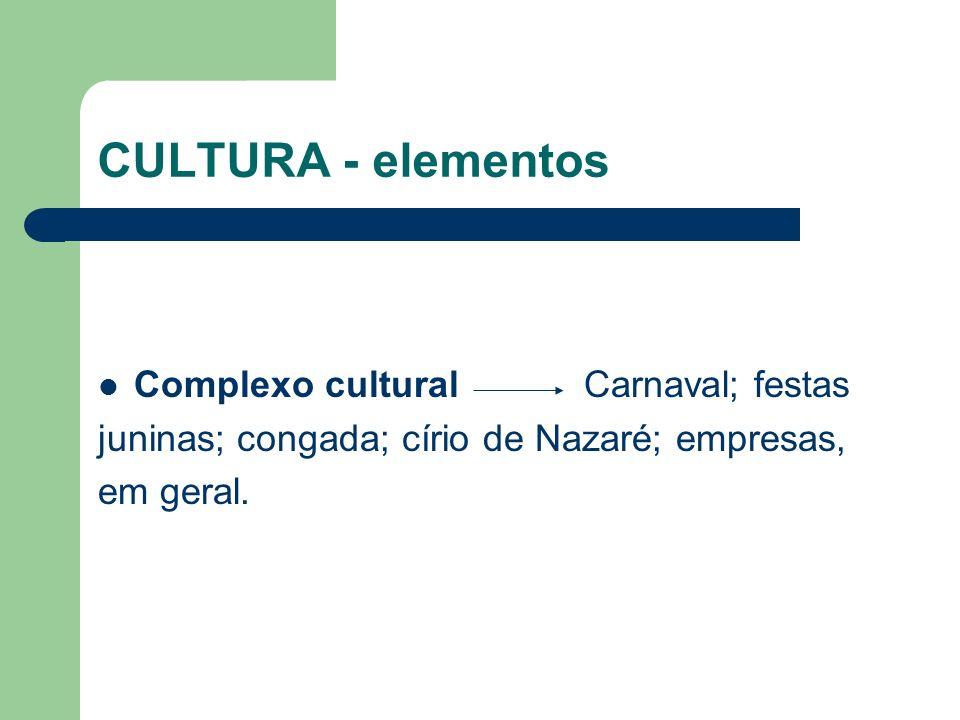 CULTURA - elementos Complexo cultural Carnaval; festas