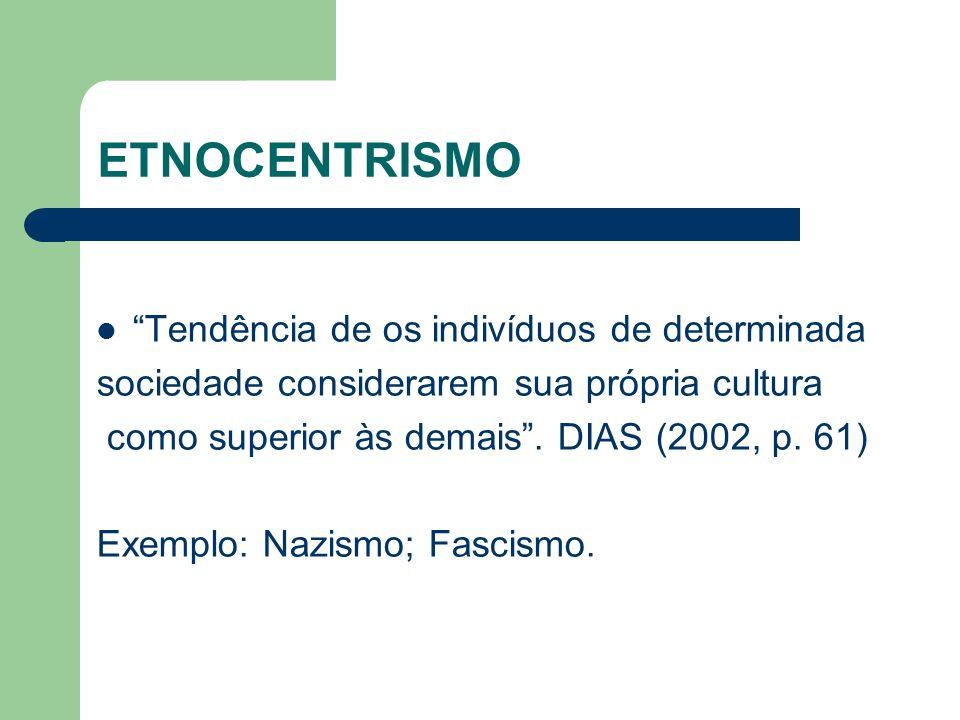 ETNOCENTRISMO Tendência de os indivíduos de determinada