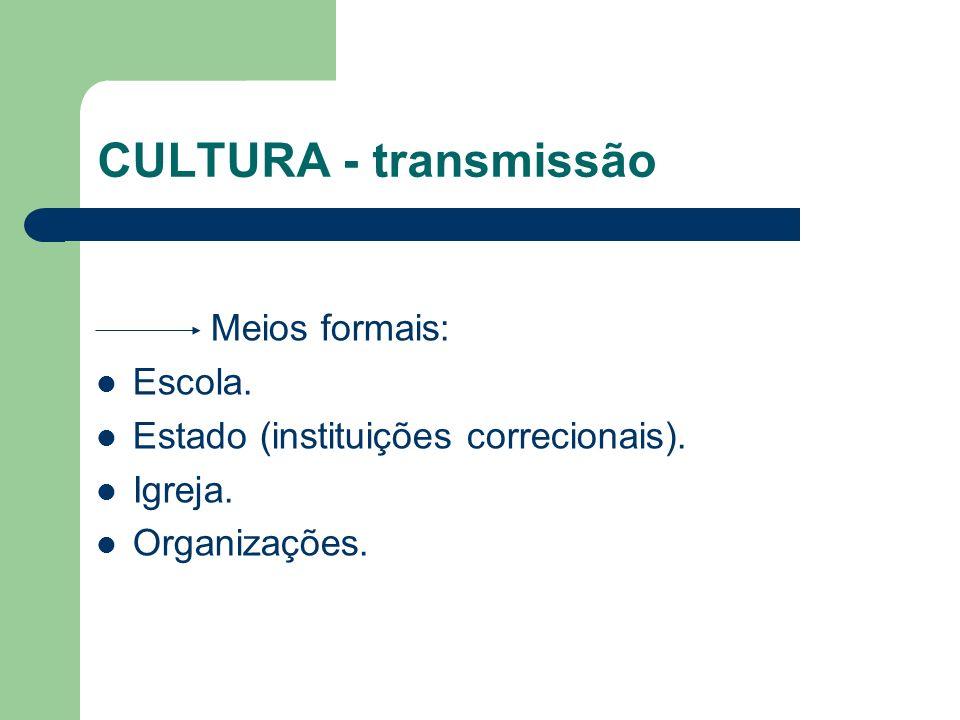 CULTURA - transmissão Meios formais: Escola.