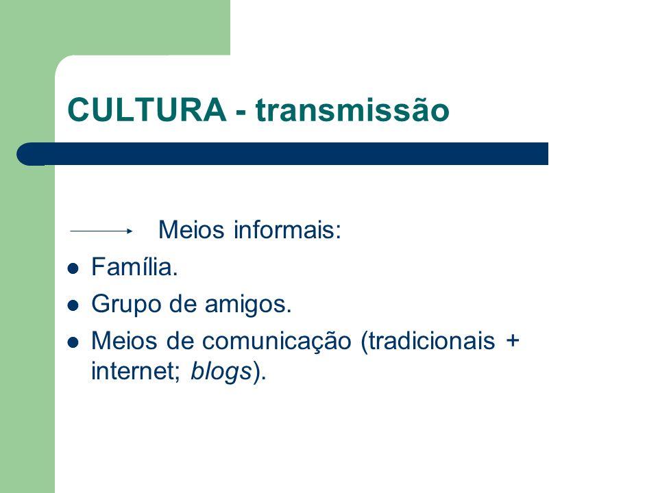 CULTURA - transmissão Meios informais: Família. Grupo de amigos.
