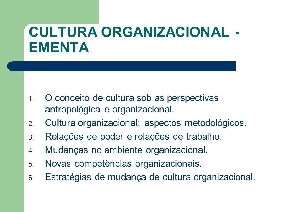 CULTURA ORGANIZACIONAL - EMENTA