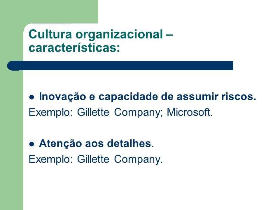 Cultura organizacional – características: