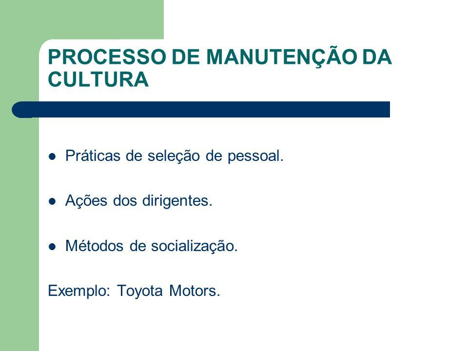 PROCESSO DE MANUTENÇÃO DA CULTURA
