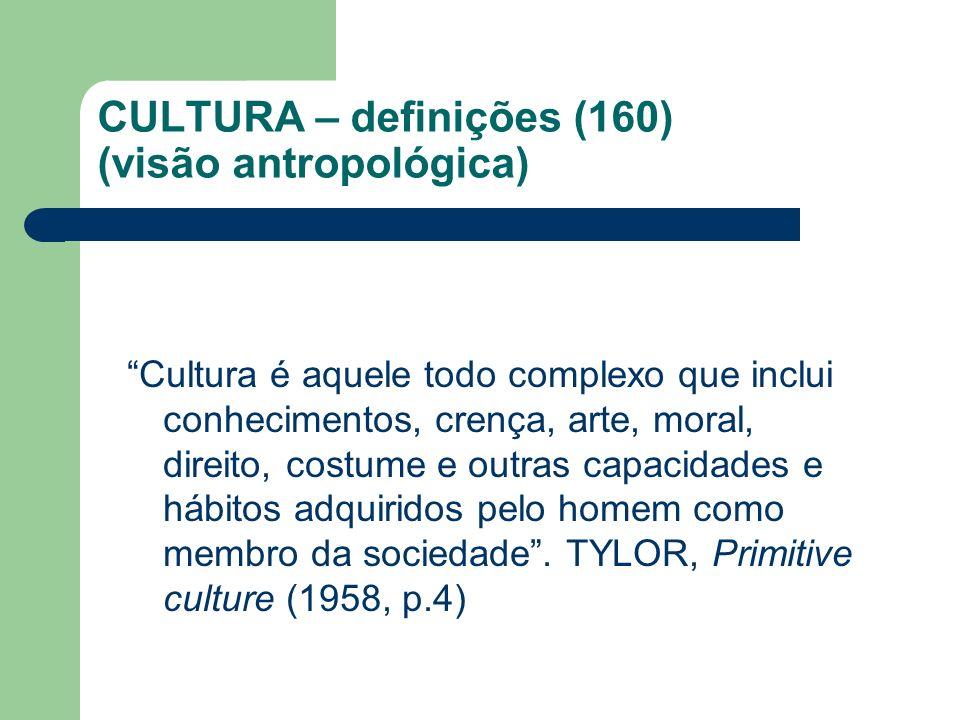 CULTURA – definições (160) (visão antropológica)