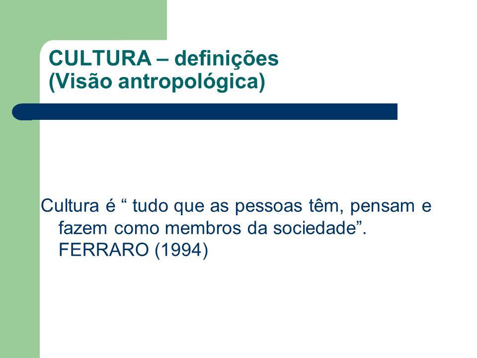 CULTURA – definições (Visão antropológica)