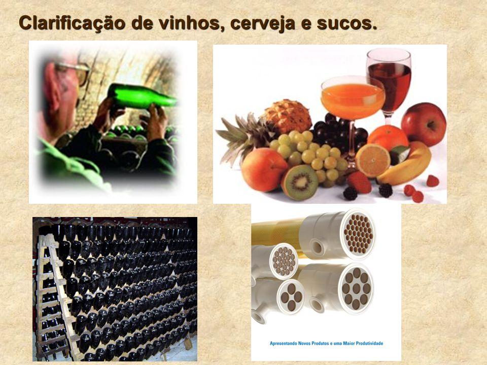 Clarificação de vinhos, cerveja e sucos.