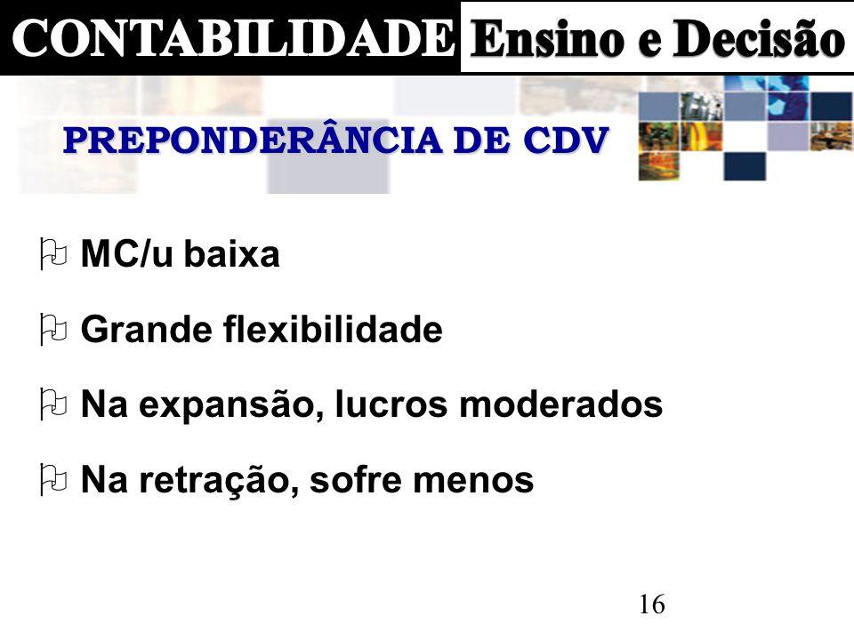 PREPONDERÂNCIA DE CDV MC/u baixa. Grande flexibilidade.