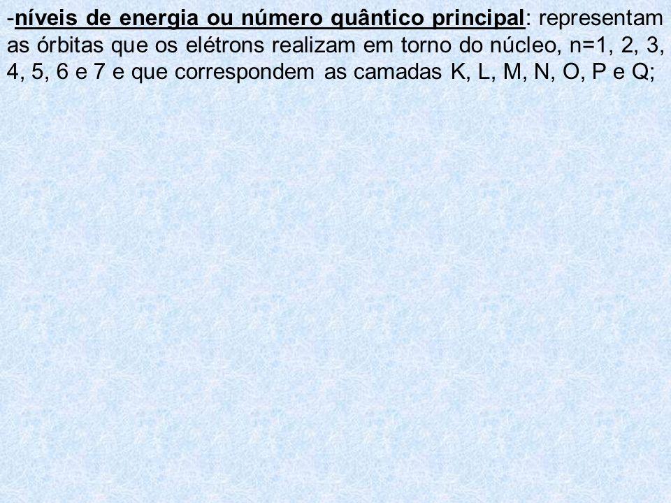 -níveis de energia ou número quântico principal: representam as órbitas que os elétrons realizam em torno do núcleo, n=1, 2, 3, 4, 5, 6 e 7 e que correspondem as camadas K, L, M, N, O, P e Q;