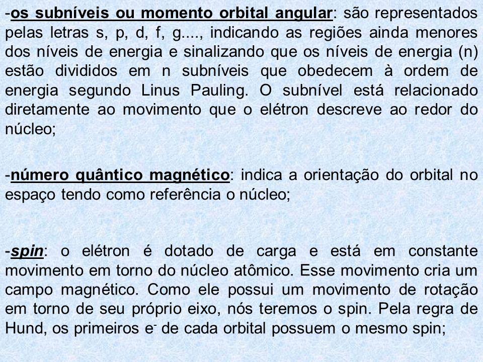-os subníveis ou momento orbital angular: são representados pelas letras s, p, d, f, g...., indicando as regiões ainda menores dos níveis de energia e sinalizando que os níveis de energia (n) estão divididos em n subníveis que obedecem à ordem de energia segundo Linus Pauling. O subnível está relacionado diretamente ao movimento que o elétron descreve ao redor do núcleo;