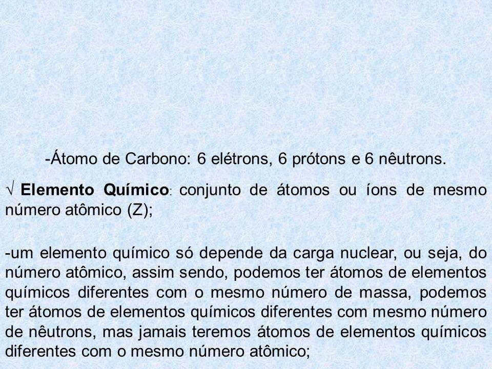 -Átomo de Carbono: 6 elétrons, 6 prótons e 6 nêutrons.