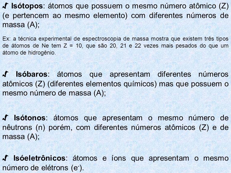 √ Isótopos: átomos que possuem o mesmo número atômico (Z) (e pertencem ao mesmo elemento) com diferentes números de massa (A);
