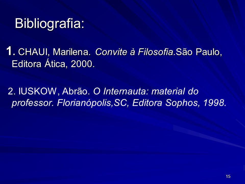 Bibliografia:1. CHAUI, Marilena. Convite à Filosofia.São Paulo, Editora Ática, 2000.