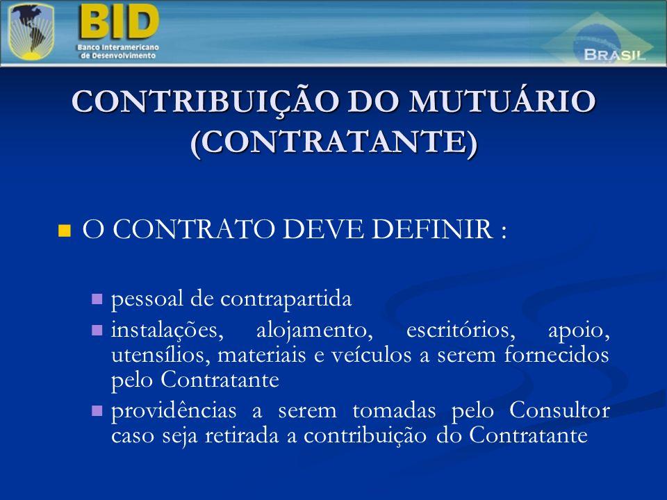 CONTRIBUIÇÃO DO MUTUÁRIO (CONTRATANTE)