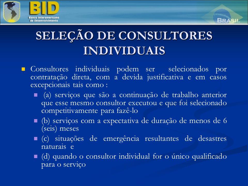 SELEÇÃO DE CONSULTORES INDIVIDUAIS