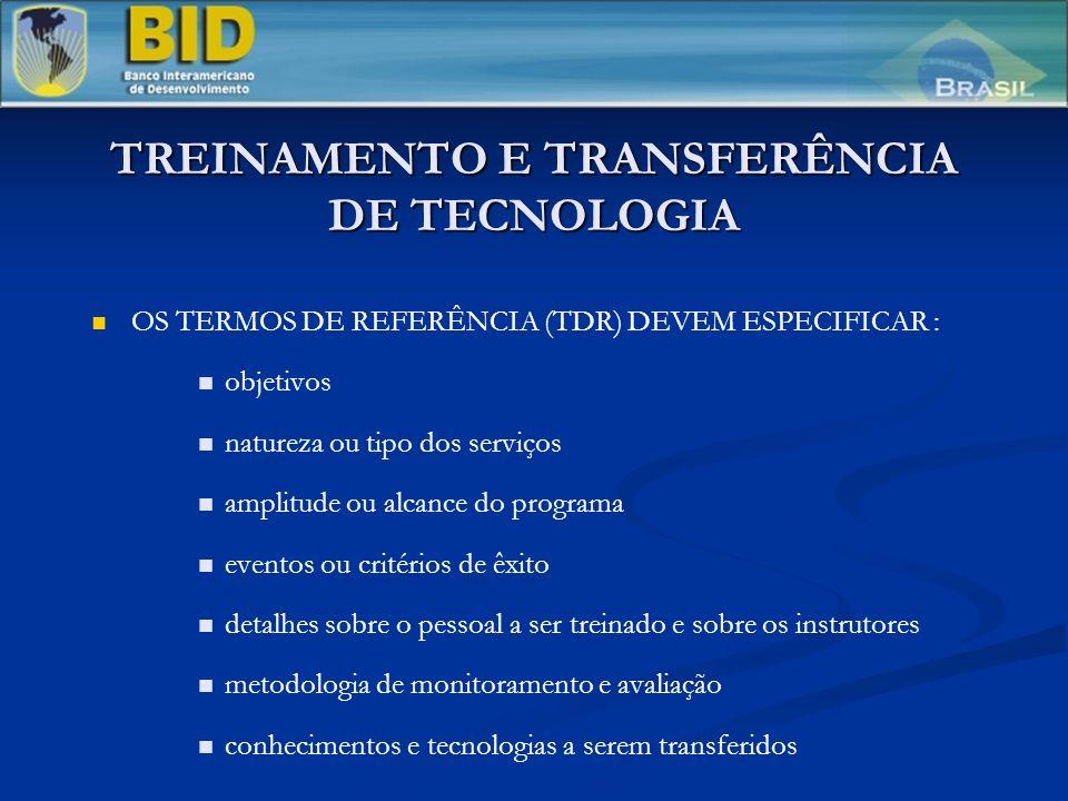 TREINAMENTO E TRANSFERÊNCIA DE TECNOLOGIA