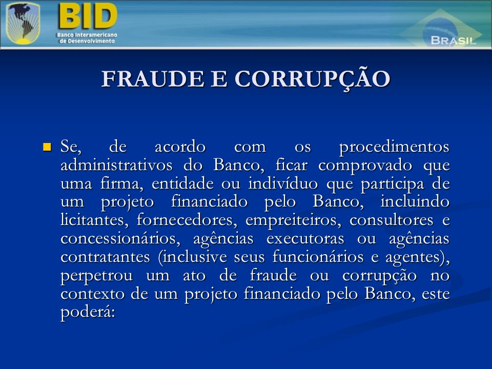 FRAUDE E CORRUPÇÃO