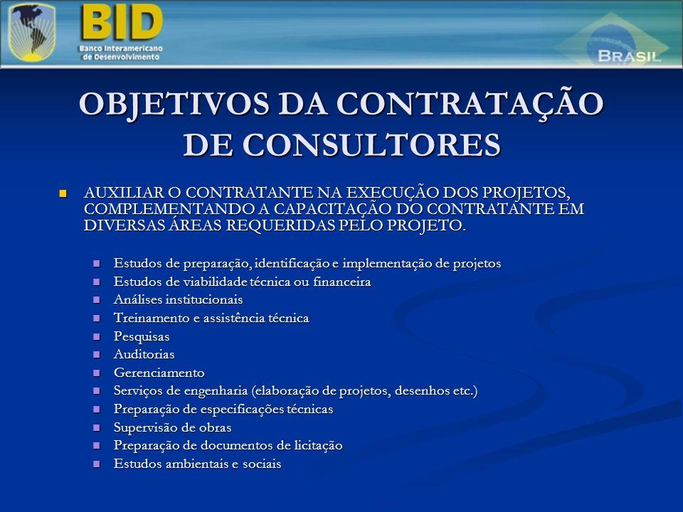 OBJETIVOS DA CONTRATAÇÃO DE CONSULTORES