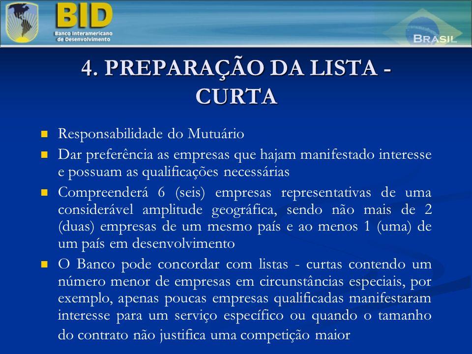 4. PREPARAÇÃO DA LISTA - CURTA