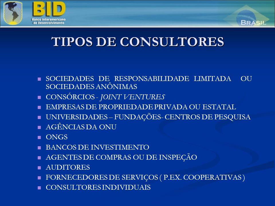 TIPOS DE CONSULTORES SOCIEDADES DE RESPONSABILIDADE LIMITADA OU SOCIEDADES ANÔNIMAS. CONSÓRCIOS - JOINT VENTURES.
