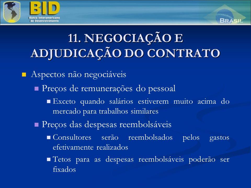 11. NEGOCIAÇÃO E ADJUDICAÇÃO DO CONTRATO