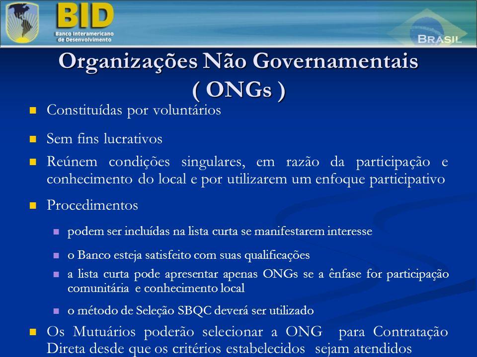 Organizações Não Governamentais ( ONGs )