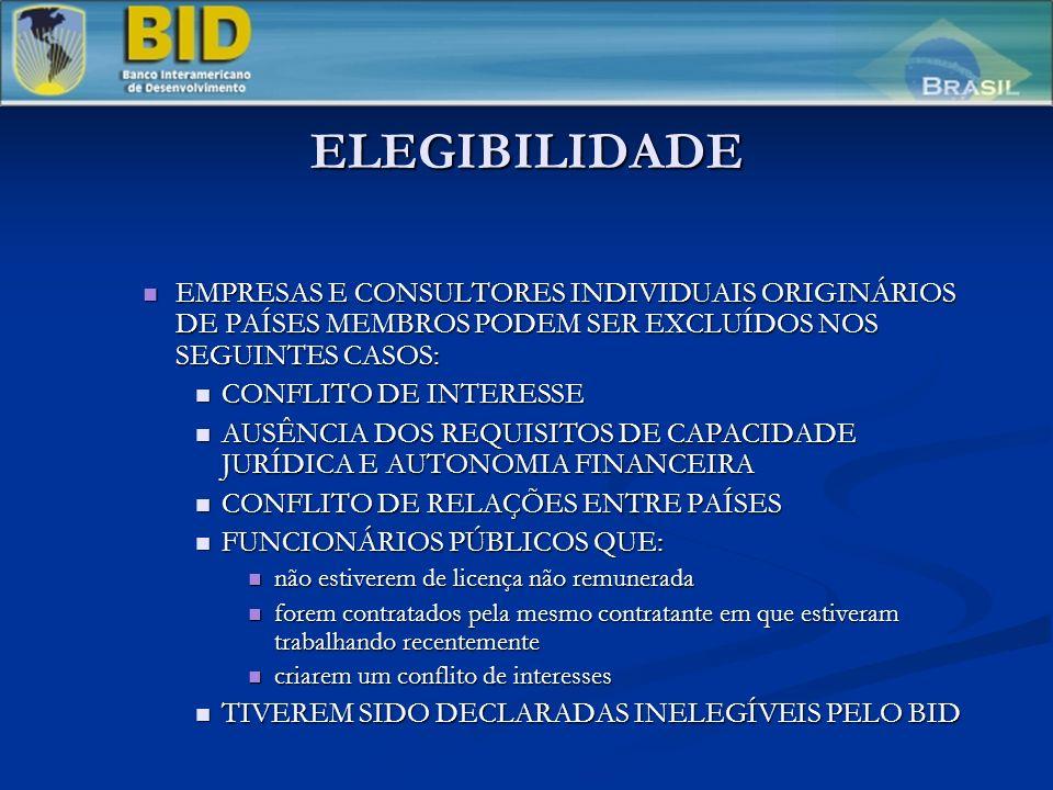ELEGIBILIDADE EMPRESAS E CONSULTORES INDIVIDUAIS ORIGINÁRIOS DE PAÍSES MEMBROS PODEM SER EXCLUÍDOS NOS SEGUINTES CASOS: