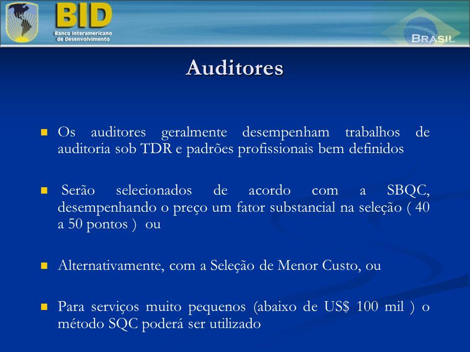 Auditores Os auditores geralmente desempenham trabalhos de auditoria sob TDR e padrões profissionais bem definidos.