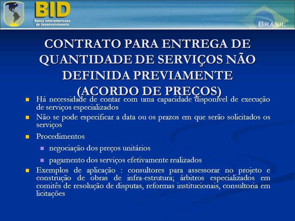 CONTRATO PARA ENTREGA DE QUANTIDADE DE SERVIÇOS NÃO DEFINIDA PREVIAMENTE (ACORDO DE PREÇOS)