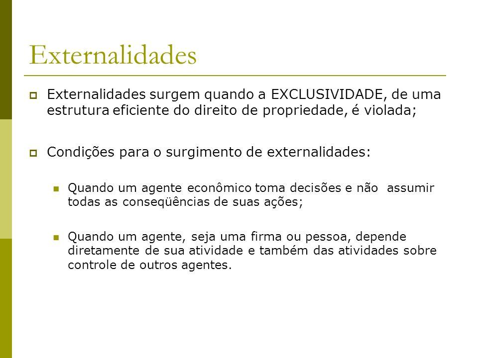 Externalidades Externalidades surgem quando a EXCLUSIVIDADE, de uma estrutura eficiente do direito de propriedade, é violada;