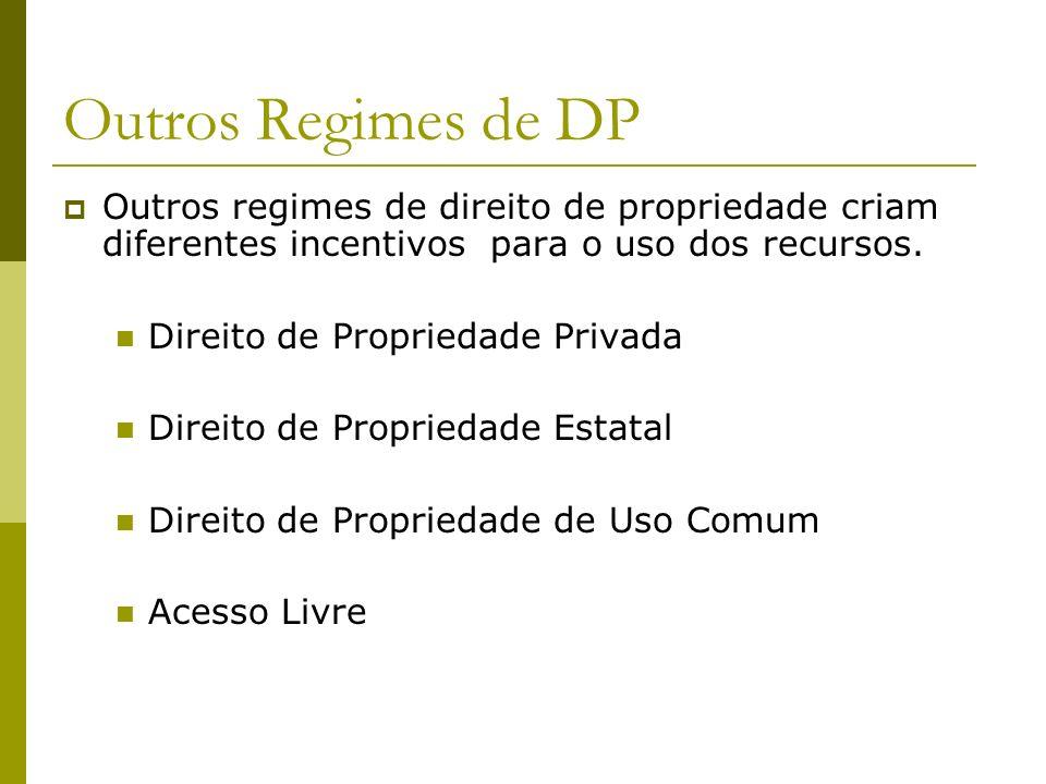 Outros Regimes de DP Outros regimes de direito de propriedade criam diferentes incentivos para o uso dos recursos.