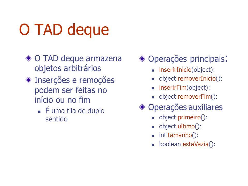 O TAD deque Operações principais: