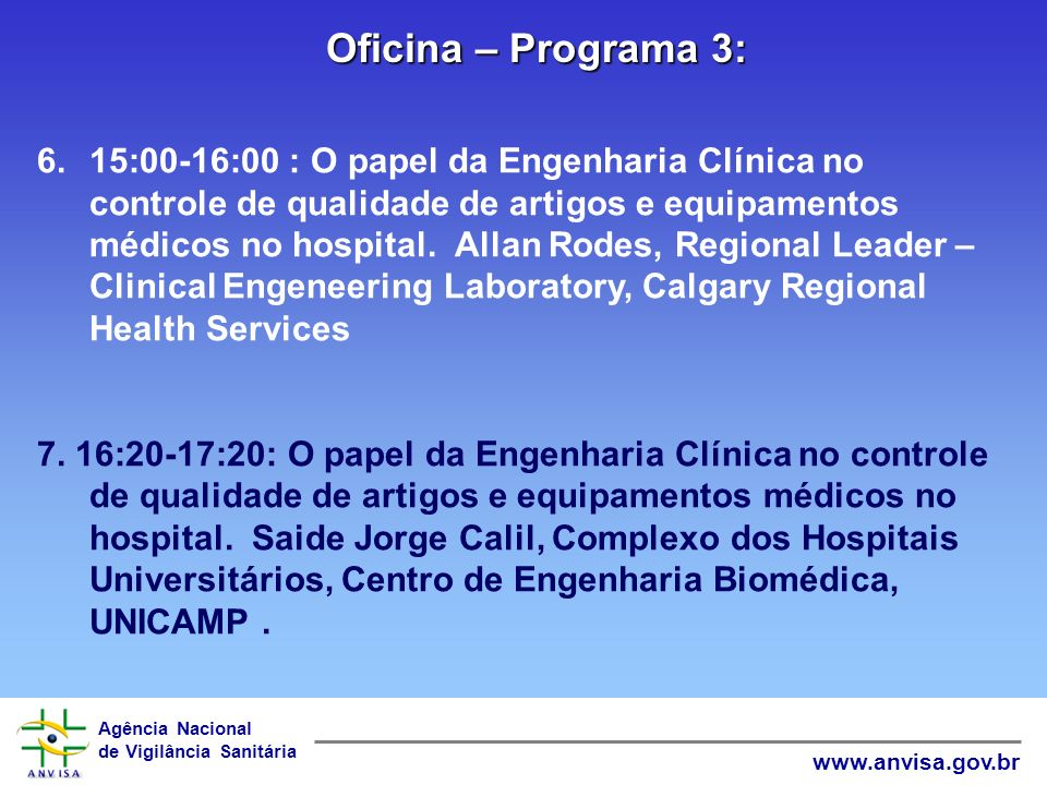 Oficina – Programa 3: