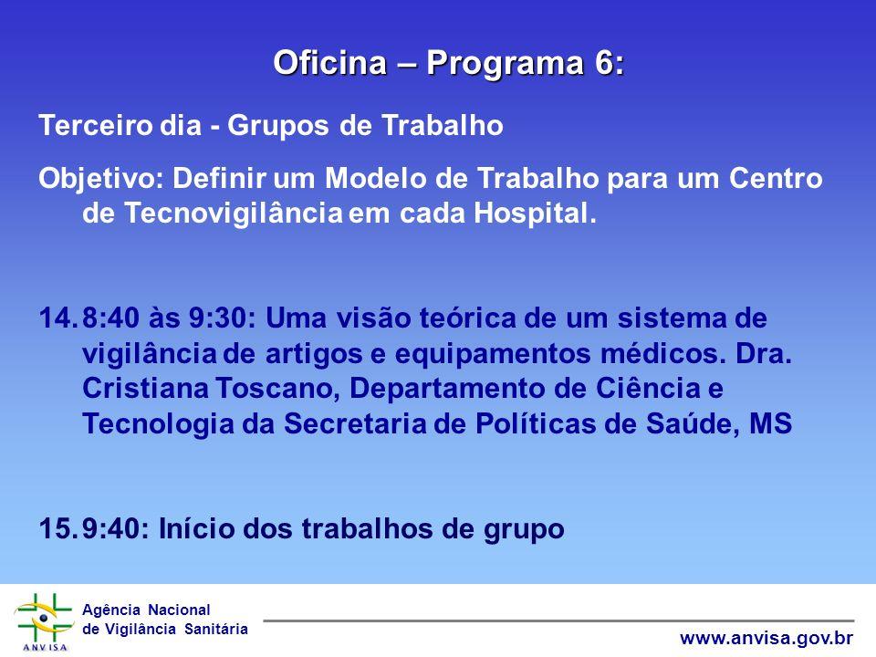 Oficina – Programa 6: Terceiro dia - Grupos de Trabalho