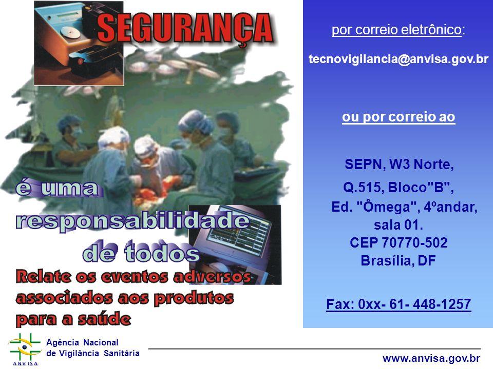 por correio eletrônico: tecnovigilancia@anvisa.gov.br