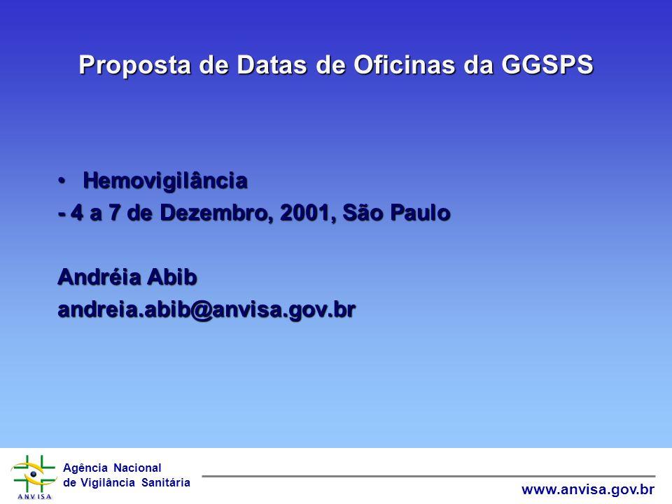 Proposta de Datas de Oficinas da GGSPS