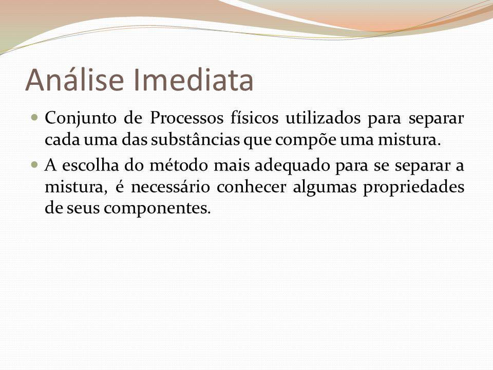 Análise ImediataConjunto de Processos físicos utilizados para separar cada uma das substâncias que compõe uma mistura.