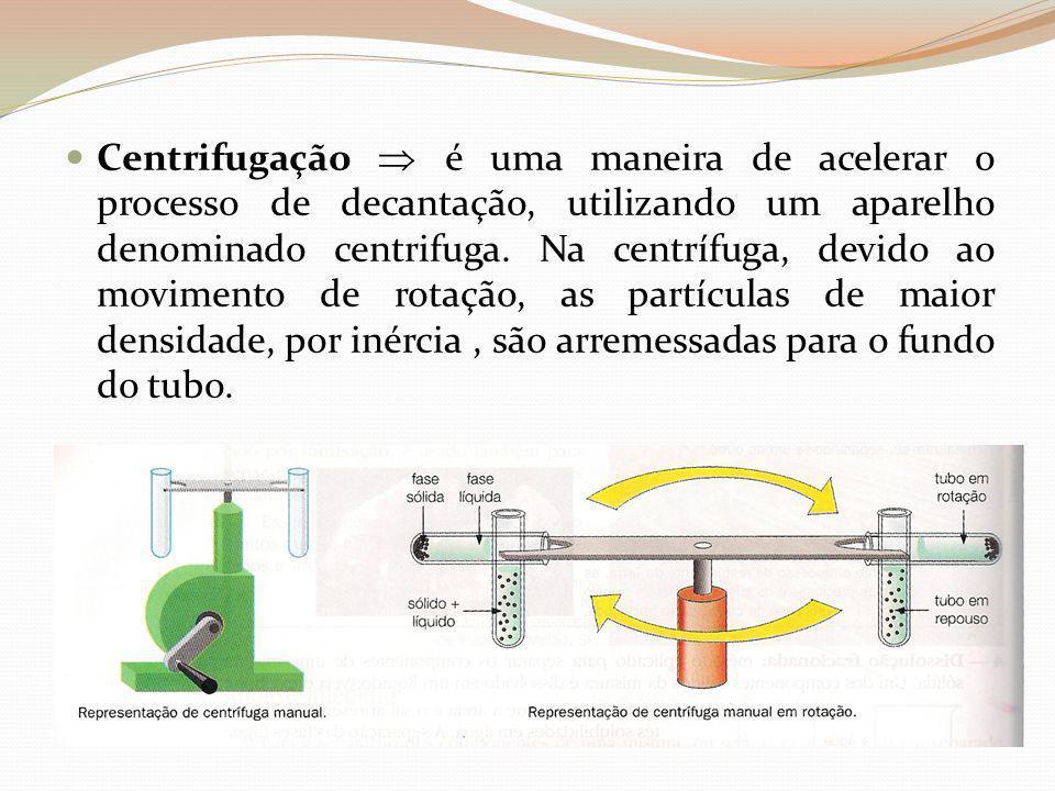 Centrifugação  é uma maneira de acelerar o processo de decantação, utilizando um aparelho denominado centrifuga.