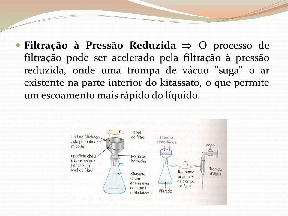 Filtração à Pressão Reduzida  O processo de filtração pode ser acelerado pela filtração à pressão reduzida, onde uma trompa de vácuo suga o ar existente na parte interior do kitassato, o que permite um escoamento mais rápido do líquido.