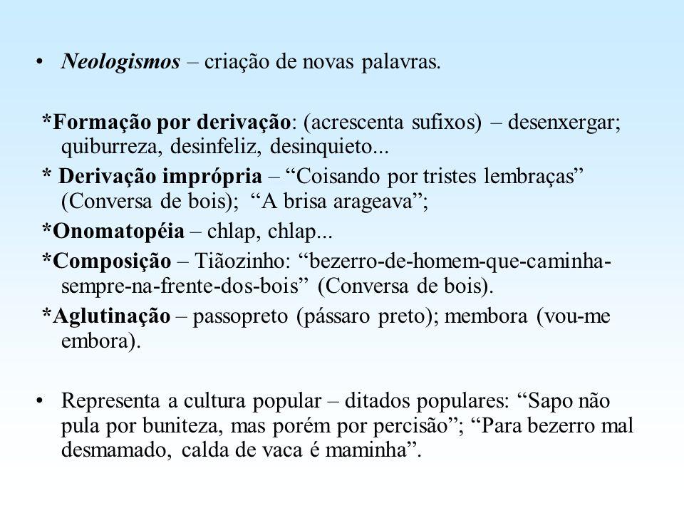 Neologismos – criação de novas palavras.