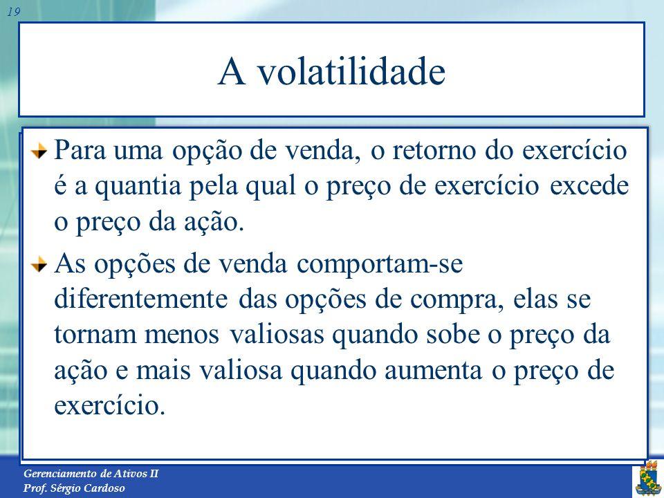 A volatilidade Para uma opção de venda, o retorno do exercício é a quantia pela qual o preço de exercício excede o preço da ação.