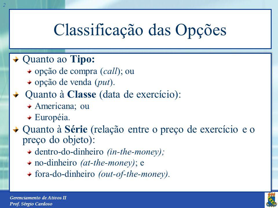 Classificação das Opções