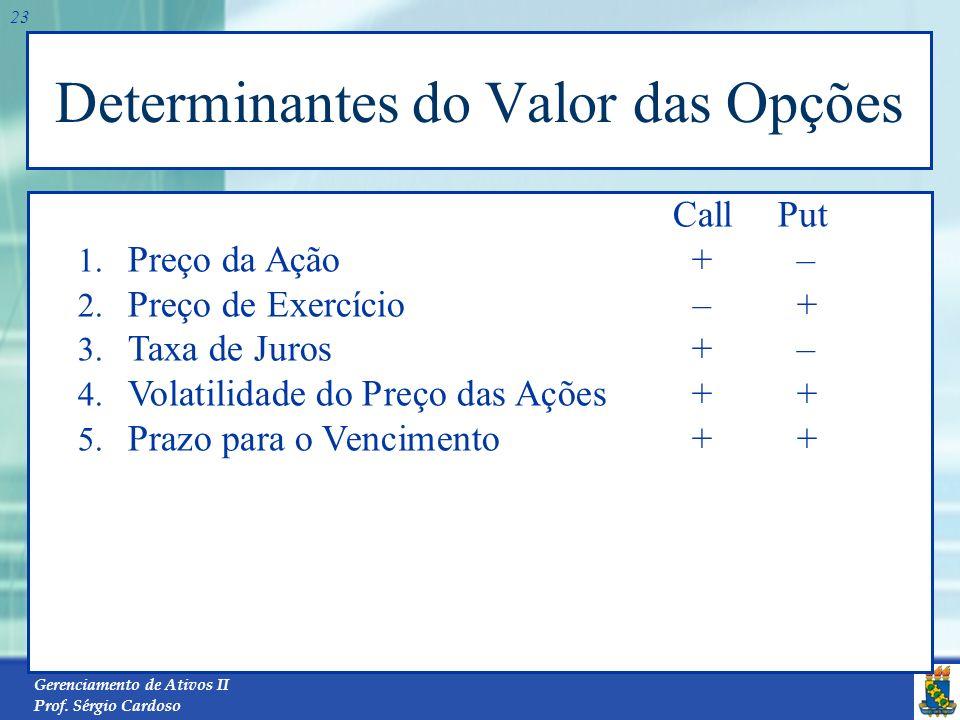 Determinantes do Valor das Opções