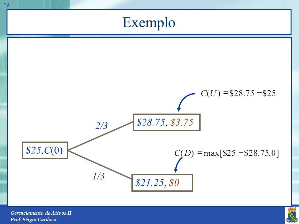 Exemplo $28.75, $3.75 $25,C(0) $21.25, $0 2/3 1/3 25 $ 75 . 28 ) ( - =