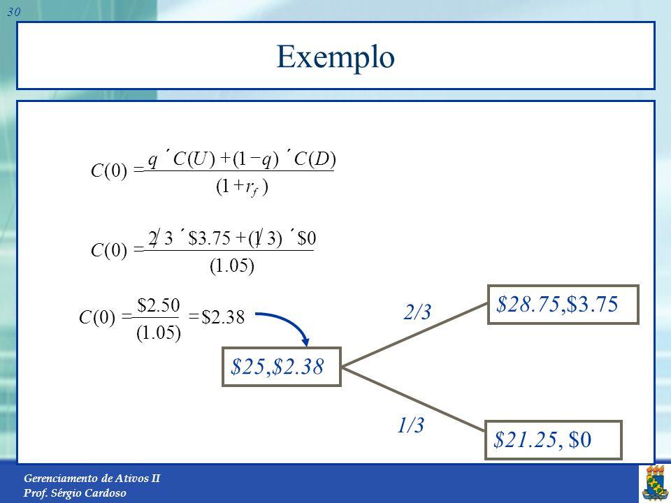 Exemplo $21.25, $0 $25,C(0) $28.75,$3.75 $25,$2.38 2/3 1/3 ) 1 ( r D C